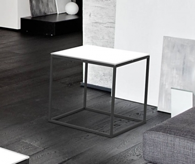 Julia White Glass and Black Side Table