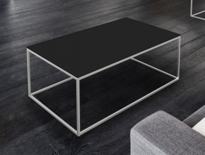 Julia Black Glass and Chrome Coffee Table