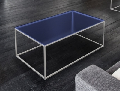Julia Blue Glass and Chrome Coffee Table