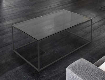Julia Clear Glass and Black Coffee Table