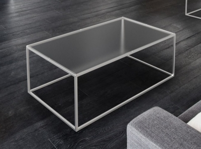 Julia Crystal Frosted Glass and Chrome Coffee Table