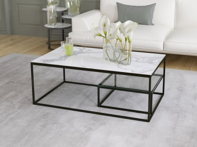 Julia Etagere Marble Effect Ceramic Top Coffee Table