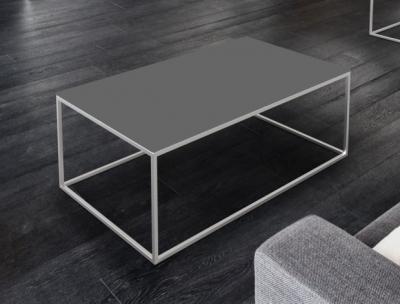 Julia Light Grey Glass and Chrome Coffee Table