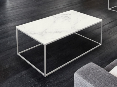 Julia Marble Effect Ceramic and Chrome Coffee Table