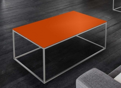 Julia Orange Glass and Chrome Coffee Table