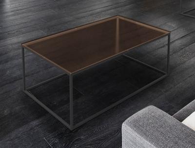 Julia Sepia Glass and Black Coffee Table
