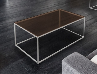 Julia Sepia Glass and Chrome Coffee Table