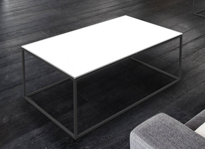Julia White Glass and Black Coffee Table