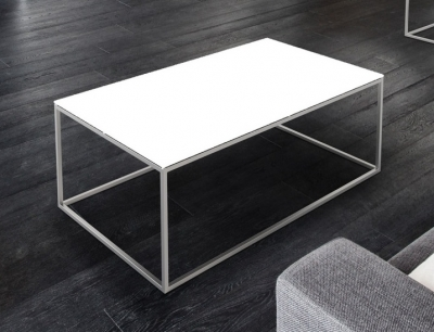 Julia White Glass and Chrome Coffee Table