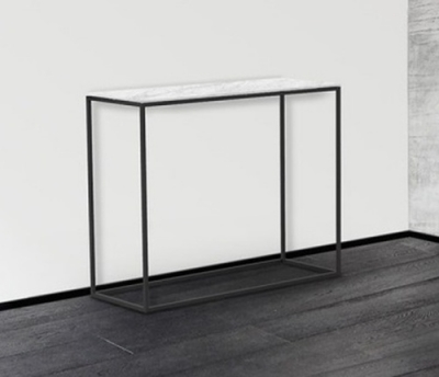 Julia Marble Effect Ceramic and Black Console Table
