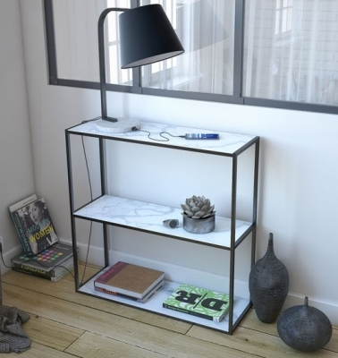 Julia Petite Marble Effect Ceramic and Black Console Table