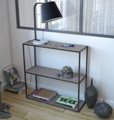Julia Petite Natural Ceramic and Black Console Table