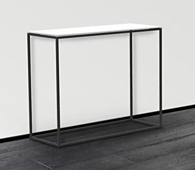 Julia White Glass and Black Console Table