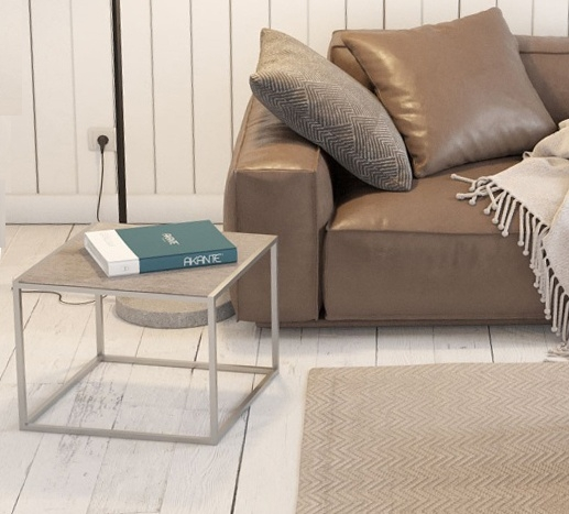 Julia Natural Ceramic and Chrome Side Table