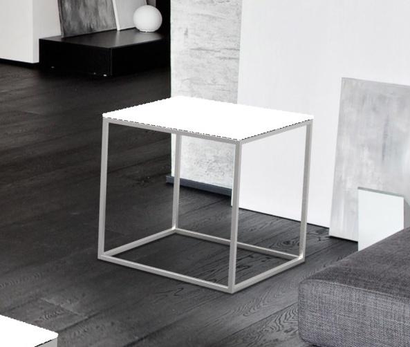 Julia White Glass and Chrome Side Table