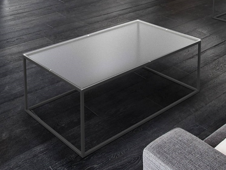 Julia Crystal Frosted Glass and Black Coffee Table