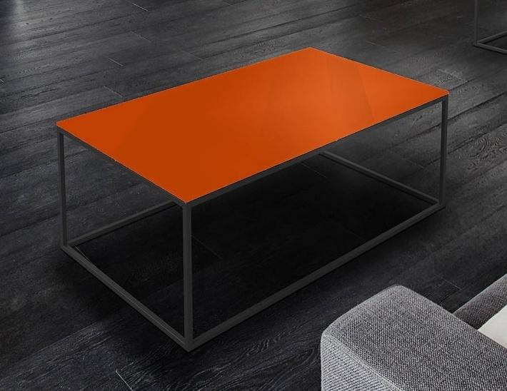 Julia Orange Glass and Black Coffee Table