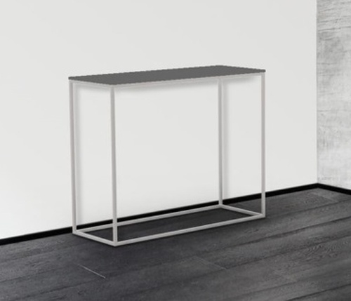 Julia Grey Frosted Glass and Chrome Console Table