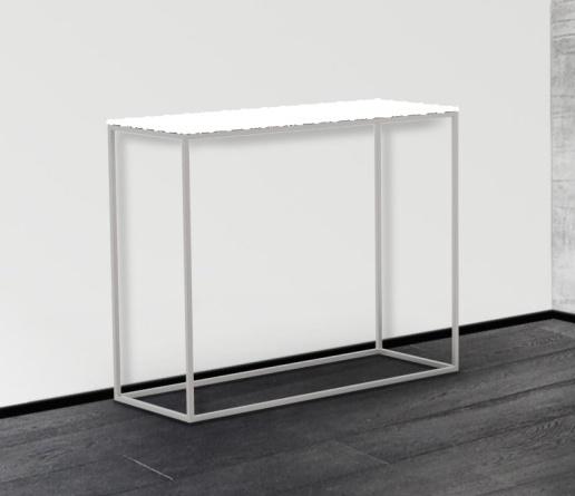 Julia White Glass and Chrome Console Table