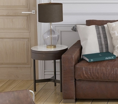 Kingston Marble Effect Ceramic and Walnut Side Table