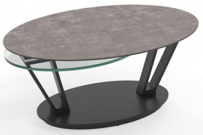 Loop Natural Ceramic and Glass Swivel Coffee Table