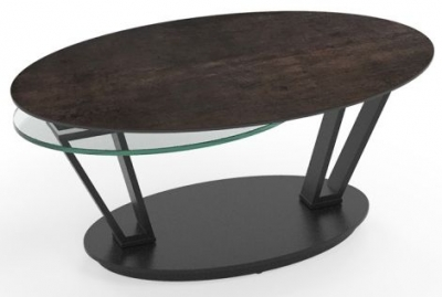 Loop Steel Ceramic and Glass Swivel Coffee Table