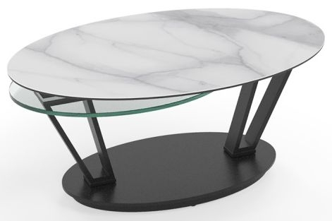 Loop Marble Effect Ceramic and Glass Swivel Coffee Table