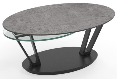 Loop Silver Ceramic and Glass Swivel Coffee Table