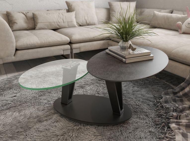 Loop Titanium Ceramic and Glass Swivel Coffee Table