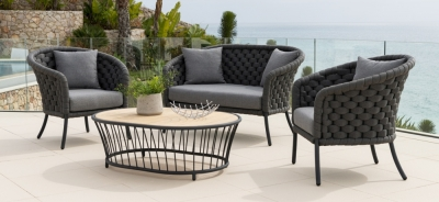 Alexander Rose Cordial Luxe Dark Grey 2+1+1 Curved Sofa Suite with Cushion