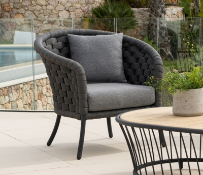 Alexander Rose Cordial Luxe Dark Grey Lounge Chair with Cushion