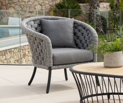 Alexander Rose Cordial Luxe Light Grey Lounge Chair with Cushion
