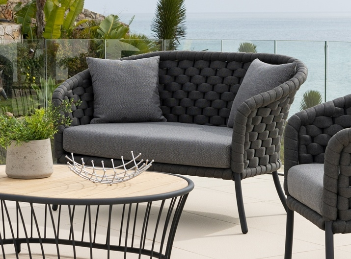 Alexander Rose Cordial Luxe Dark Grey 2 Seater Curved Sofa with Cushion