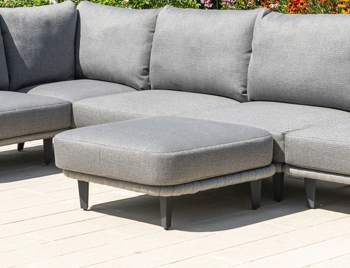 Alexander Rose Cordial Luxe Light Grey Ottoman with Cushion