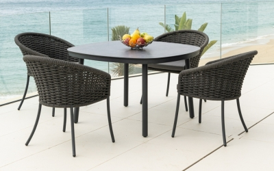 Alexander Rose Cordial Grey 120cm Dining Table with Pebble HPL Top