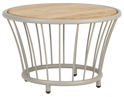 Alexander Rose Cordial Beige Round Side Table with Roble Top