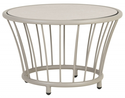 Alexander Rose Cordial Beige Round Side Table with Sand Hpl Top