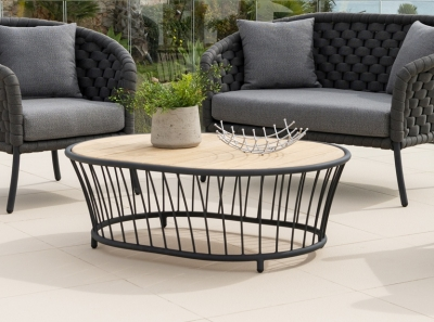 Alexander Rose Cordial Grey Oval Coffee Table with Roble Top