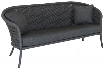 Alexander Rose Cordial Grey Rope 3 Seater Sofa with Cushion