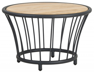 Alexander Rose Cordial Grey Round Side Table with Roble Top