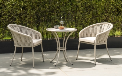 Alexander Rose Cordial Beige Bistro Table with Sand HPL Top and 2 Armchair