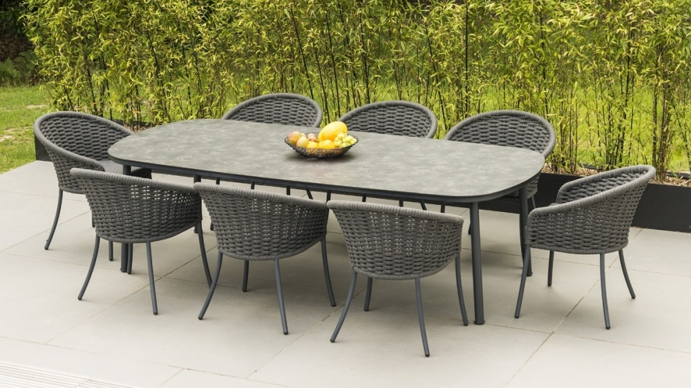 Alexander Rose Cordial Grey 270cm Dining Table with Pebble HPL Top