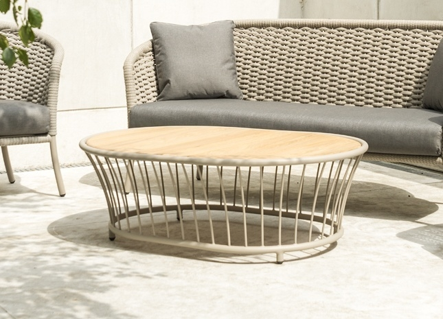 Alexander Rose Cordial Beige Oval Coffee Table with Roble Top