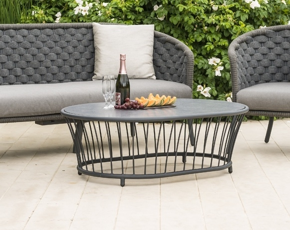 Alexander Rose Cordial Grey Oval Coffee Table with Pebble Hpl Top