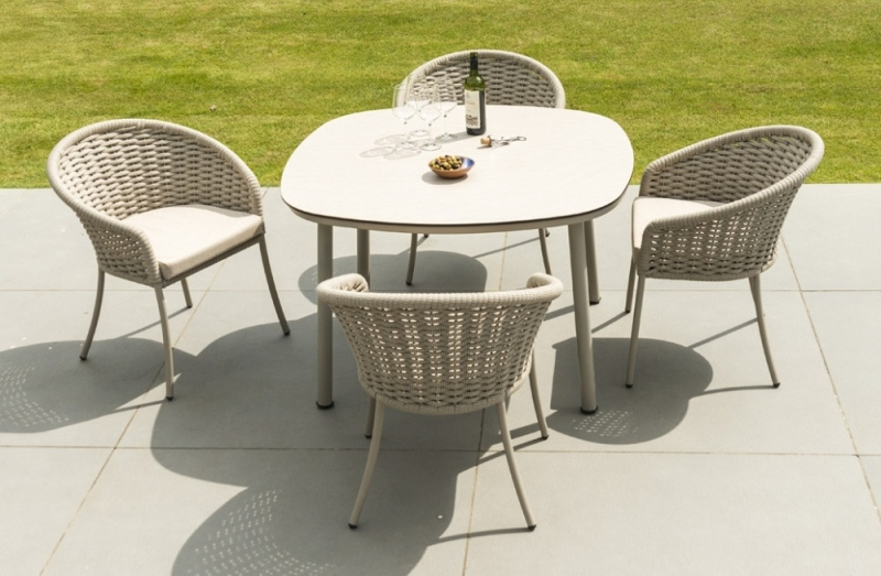 Alexander Rose Cordial Beige 120cm Dining Table with Sand HPL Top
