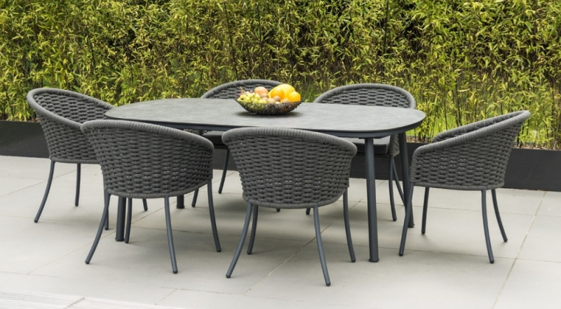 Alexander Rose Cordial Grey 200cm Dining Table with Pebble HPL Top