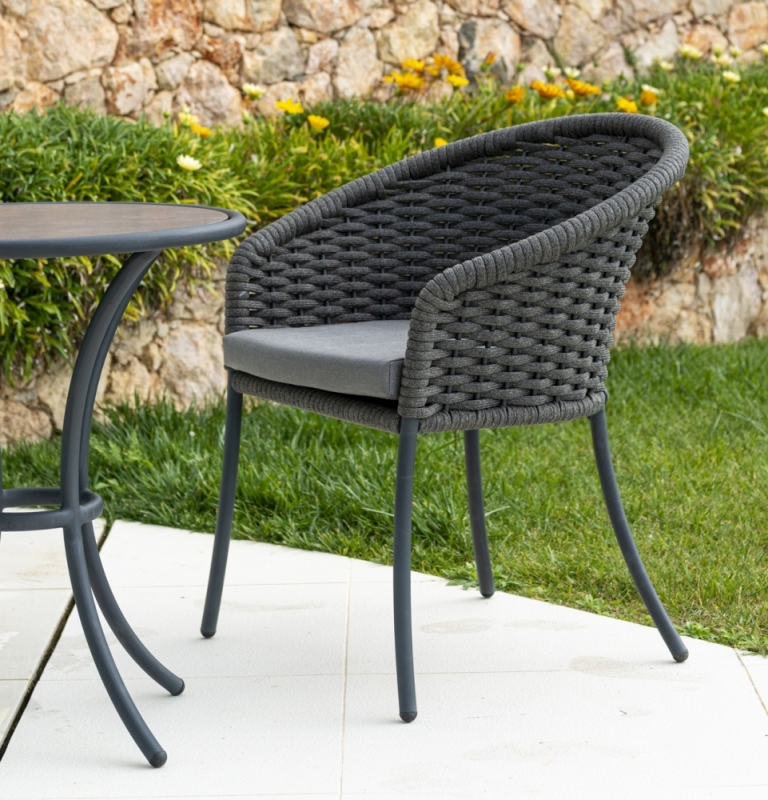 Alexander Rose Cordial Grey Rope Dining Armchair with Cushion (Pair)