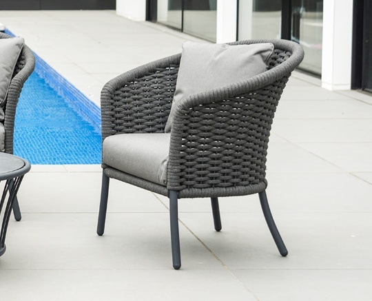 Alexander Rose Cordial Grey Rope Curved Top Lounge Chair with Cushion