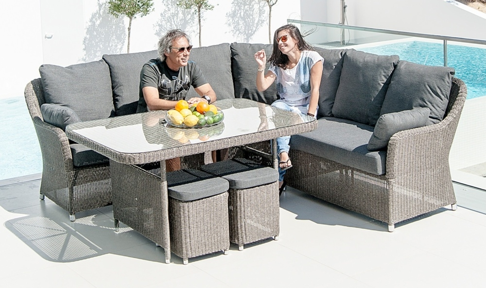 Alexander Rose Monte Carlo 130cm Casual Dining Table with Glass