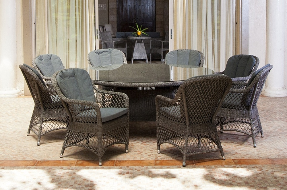 Alexander Rose Monte Carlo 180cm Round Dining Table with Glass